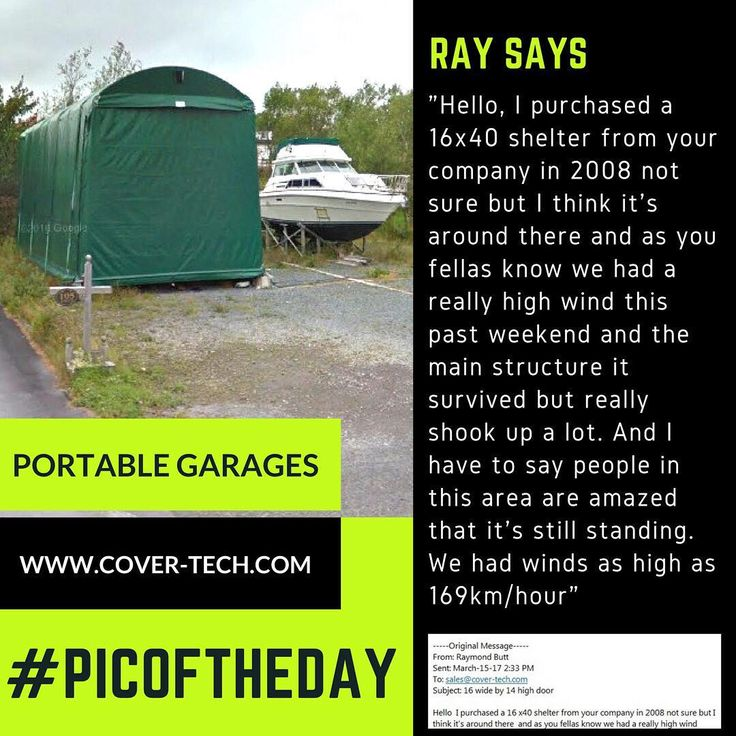 We love it when our customers send us email that they love our product just like this one that we received today! #picoftheday #portablegarage #covertech #shelter #product #highquality #testimonial #madeincanada #rvgarage #boatgarage #cargarage #custommade