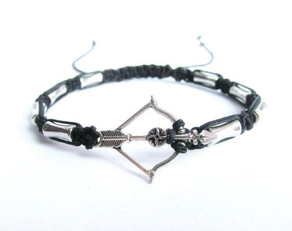 Mens bow and arrow bracelet mens macrame by Bravemenjewelry