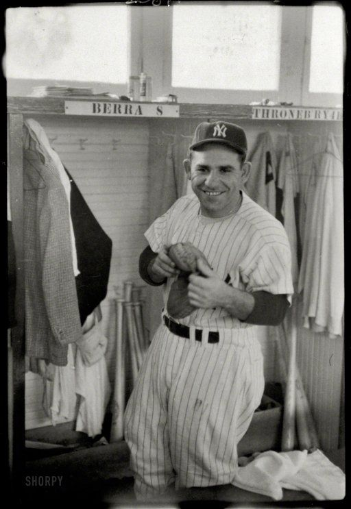 RIP Yogi Berra New York Yankees baseball player Berra in the locker room,1957. http://www.shorpy.com/node/20160?utm_content=bufferb163a&utm_medium=social&utm_source=pinterest.com&utm_campaign=buffer Marvin Newman
