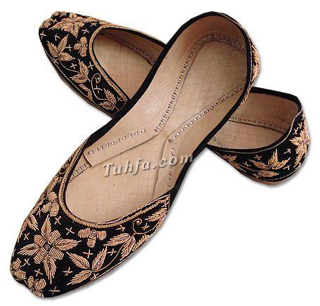 Ladies Khussa- Black   Pakistani Indian Khussa Shoes