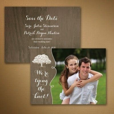 Occasions to Blog: Photo Save the Date Cards (Card Link - http://occasionsinprint.carlsoncraft.com/Wedding/Save-the-Dates/WA-WA32857FC-Shady-Wood--Save-the-Date-Card.pro)