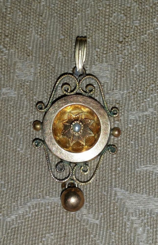 Antique Victorian Gold Filled Seed Pearl LAVALIER PENDANT