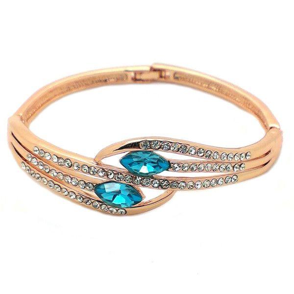 Beora Rose Gold Plated Sea Blue Crystal Fashion Bangle @ Trendymela.com