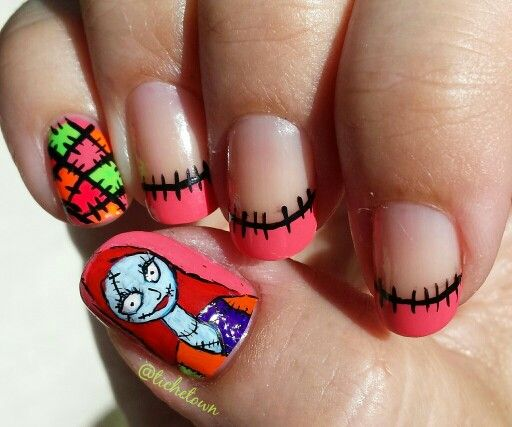 Hand Painted Christmas Nail Art: Hand Painted Nightmare Before Christmas.