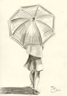 Girl with Umbrella - 4x6 - Pencil Study on Etsy, $20.00: