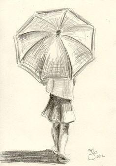 Girl with Umbrella - 4x6 - Pencil Study on Etsy, $20.00: