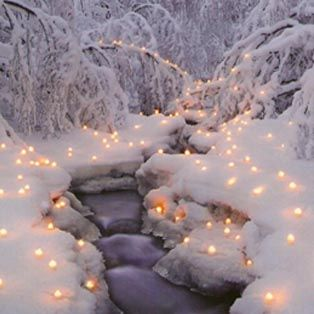 I want to light up the pathway out to the fire pit like this for Christmas so we can take a wintery stroll out in the snow!