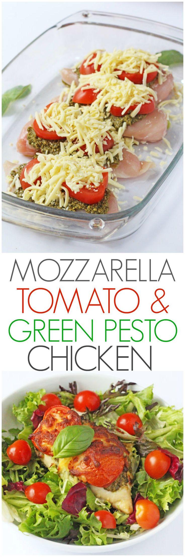 Een heerlijk en makkelijk midweek maaltijd.  Slechts 3 minuten prep en 30 minuten in de oven om deze kip mozzarella, tomaat en basilicum Pesto maken |  Mijn moeilijke eter blog