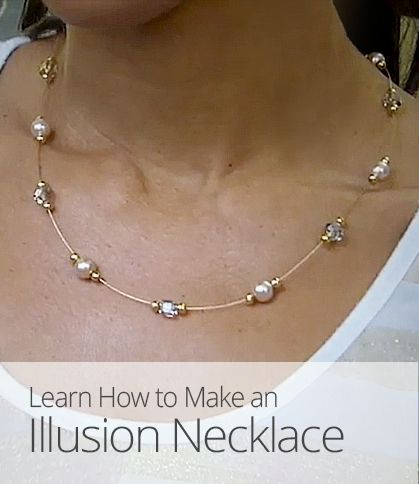 Want to make your own elegant jewelry? This lesson shows you how to make an illusion necklace from beading wire and pearls, crystals, or other sparkling beads.
