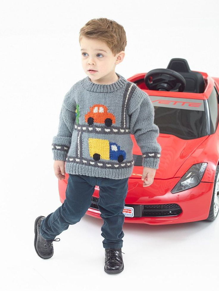 Kid's Traffic Pullover in Lion Brand Vanna's Choice - download the FREE pattern from LoveKnitting!
