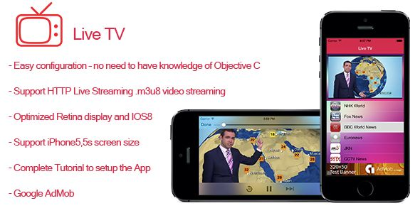 Live TV- Streaming TV for iPhone and iPad . Live TV is a full native App for iPhone  100% customizable, it has been created for a developer who wants to sell easily an App in the App Store, the App uses remote m3u8