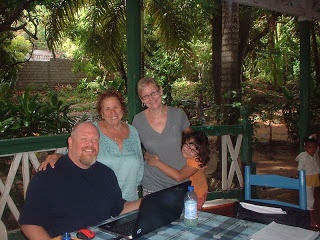 Jeremie, Haiti, guest house, with Betty, a psych prof from Boston