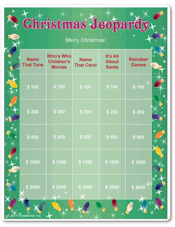 Printable Christmas Jeopardy                                                                                                                                                      More