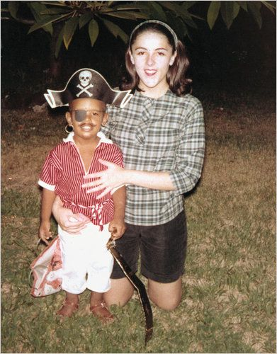 A young Barack Obama as a pirate with his mother Ann Dunham.