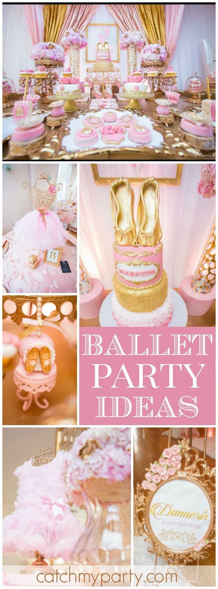 Loving this ballet themed pink and gold baby shower! See more party ideas at CatchMyParty.com!