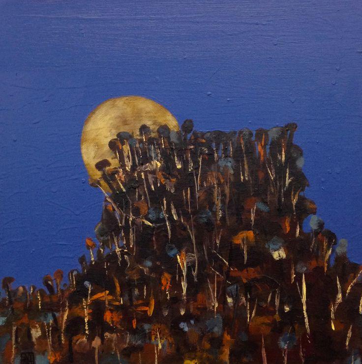 Blood Moon landscape # 2 - oil on canvas - (30 x 30 cm) sold