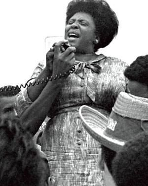 Fannie Lou Hamer, who was born today in 1917, was a civil rights leader who worked to secure the social, economic, and political rights of black Americans. In 1964, she co-founded the Mississippi Freedom Democratic Party, spoke at the Democratic National Convention at which she called for mandatory integrated state delegations, and helped organize the Freedom Summer black voter registration drive. http://www.nwhm.org/education-resources/biography/biographies/fannie-lou-hamer/