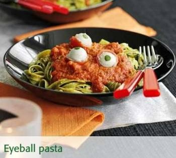 HALLOWEEN EYEBALL PASTA: What a cool and gruesome dinner for Halloween, using normal healthy ingredients and a bit of imagination. Originally from the BBC Good Food website.