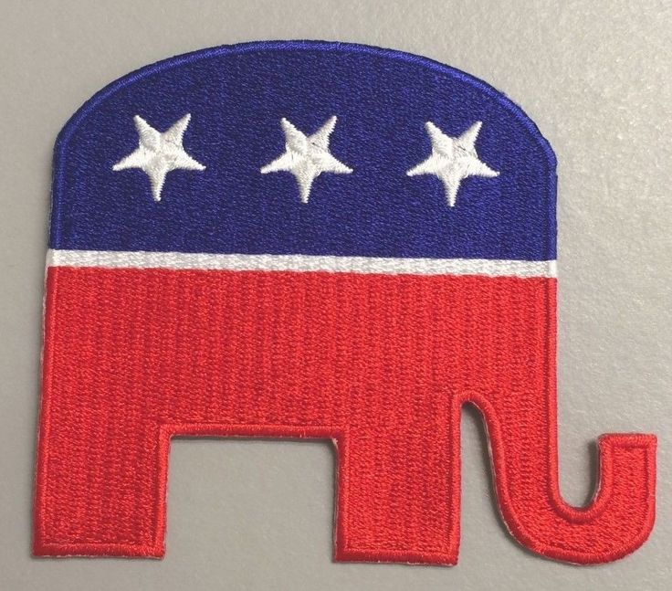 Iron On Embroidered Applique Patch Political GOP USA Republican Elephant