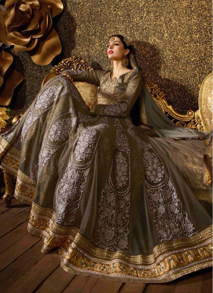 Buy Graceful Embroidered Sentoon Brown Floor Length Anarkali Suit Online : 27166