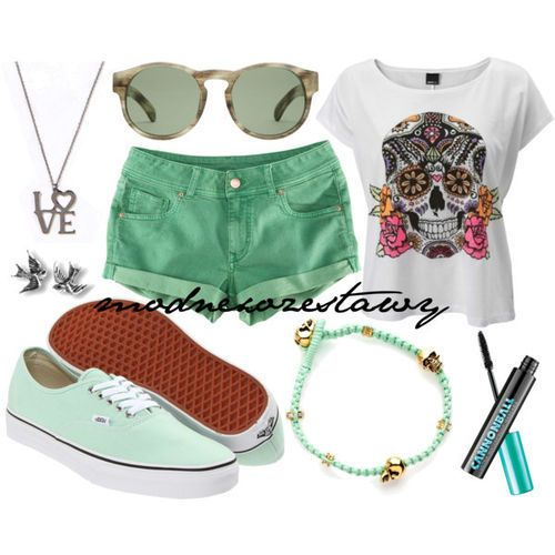 Teal shorts with a day of the skulls t-shirt and teal Vans including blue and silver accessories