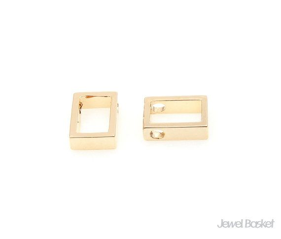 Rectangle Charm in Gold   - Gold Plated (Tarnish Resistant) - Brass / 6.0mm x 8.5mm  - 2pcs / 1pack