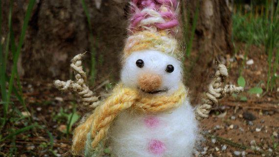 needle felted christmas snowman by Kunuli on Etsy