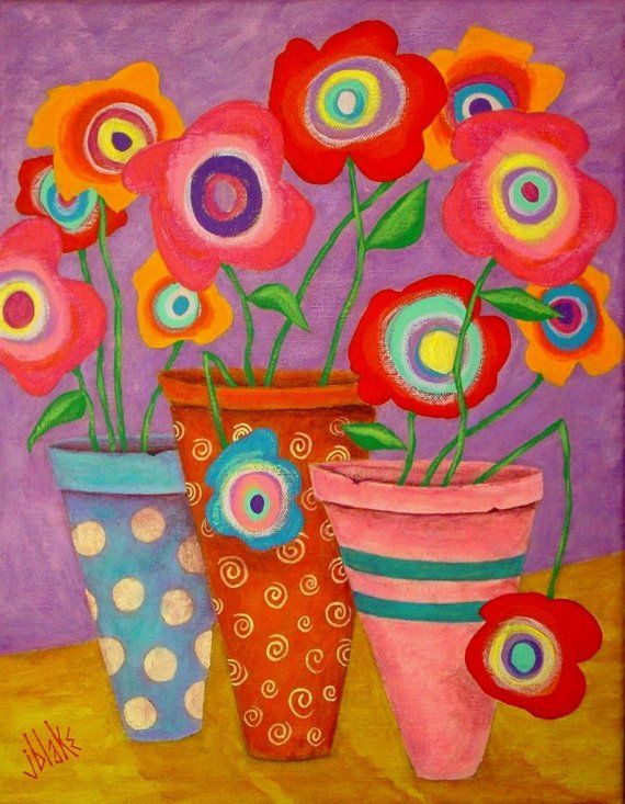 Modern Folk Art FLOWERS in Pots Original Painting --J BLAKE