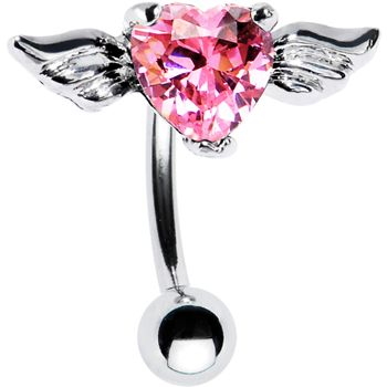 Top Mount Pink CZ Heart Angel Wing Belly Ring belly ring, belly button piercing, piercing, belly button ring, navel ring, belly bar, style, fashion, glamour, hear, hearts, valentine, valentine's day, couple, double gem belly ring, dangle belly ring, key, twilight, pink, red, rainbow, pride, love $9.99
