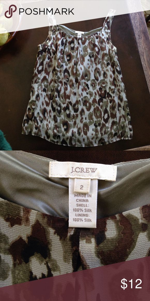 """J. Crew Silk Tank Cami camisole Leopard Top Beautiful & lightweight, 100% silk outer and lining, size 2. Measures 17 1/2"""" armpit to armpit, 24"""" long. Side zip. Greens & browns. Has a couple of tiny pulls on front but due to print they're very hard to see. J. Crew Tops Camisoles"""
