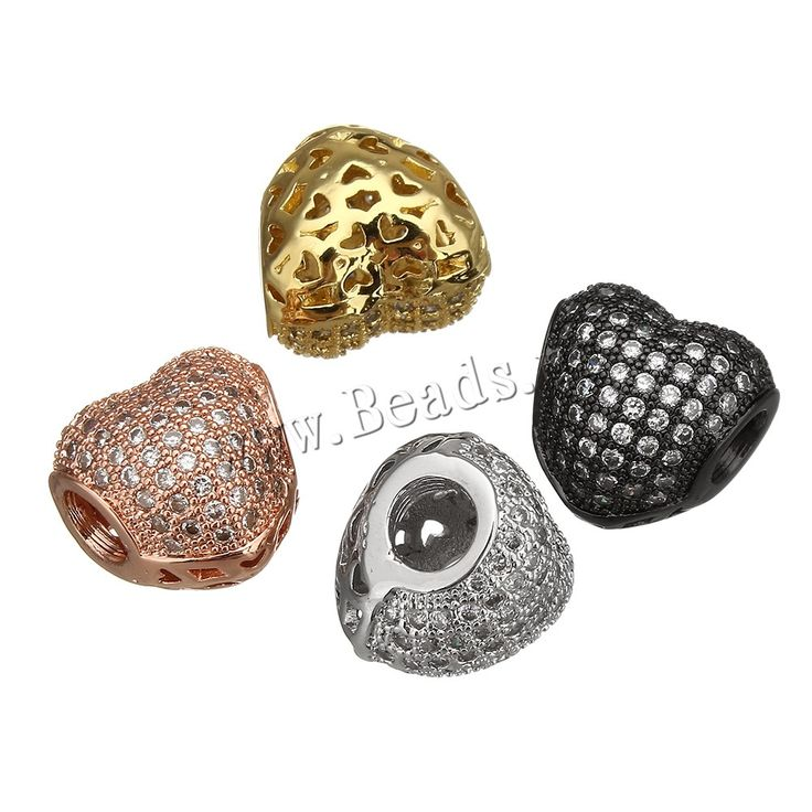 Cubic Zirconia Micro Pave Brass European Bead, Heart, plated, micro pave cubic zirconia & without troll & hollow, more colors for choice, nickel, lead & cadmium free