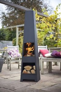 Contemporary Chiminea Firepit Durable Steel Modern Fireplace Outdoor Garden Yard