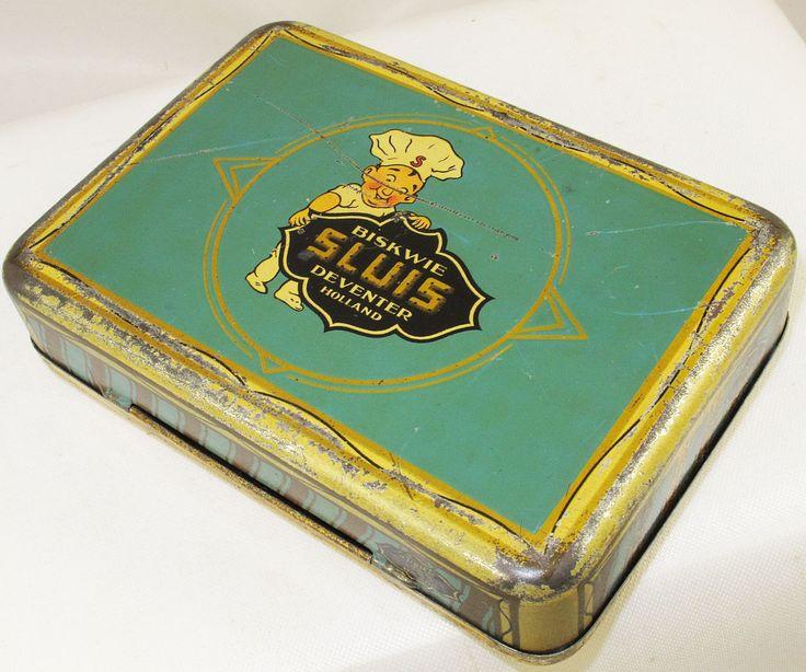 SLUIS BISCUITS DUTCH POCKET SAMPLE TIN c1925 SAILING YACHTING