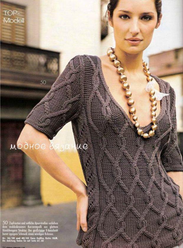 Пуловер с коротким рукавом связанный узором араны - Модное вязание