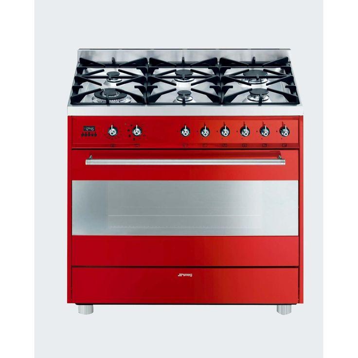 SMEG - 90cm Red Gas Cooker