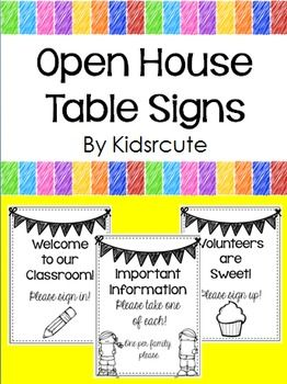 Getting ready to welcome parents to your room at an open house or parent night? Copy these table signs on bright paper or cardstock for a colorful display for your notes, contact information, classroom sign-in sheet or volunteer sign-up page.  Feedback on free items is always appreciated! Please consider becoming a follower for notification of new products and free items as they become available! :)  Thank you for visiting my store today!  J. Moriconi Kidsrcute Creative Lesson Cafe