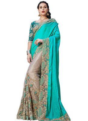 Designer Cream & Aqua Silk Georgette With Nylon Net Saree Sarees on Shimply.com