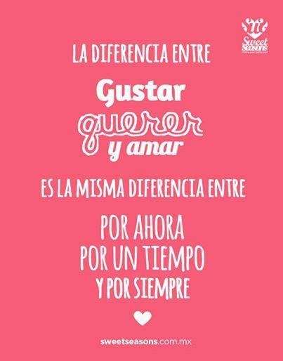 #dia a dia, La diferencia entre gustar, querer y amar es la misma diferencia entre Por ahora, por un tiempo y por siempre.....Eso explica muchas cosas...!