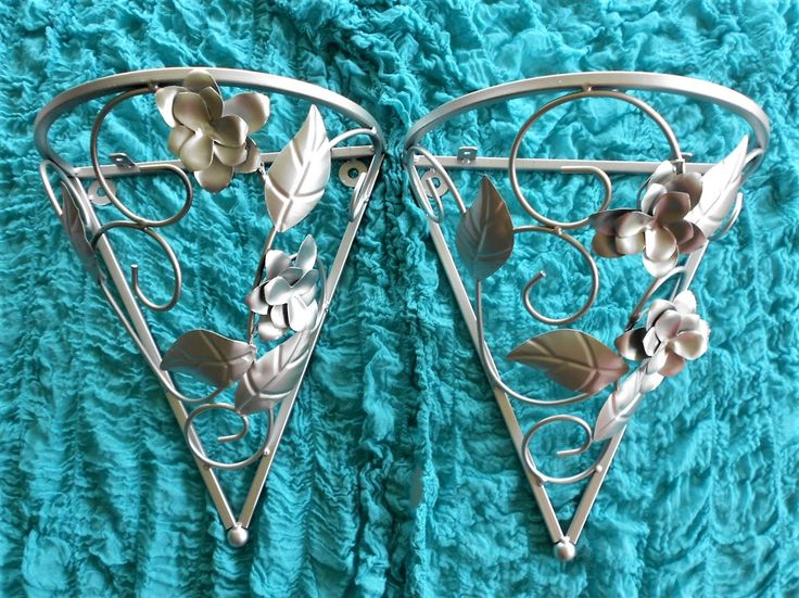 Pair of Wall Sconces,Metallic Silver Sconces Set of 2,Iron Wall Shelves,Large Silver Ornate Sconces,Hollywood Regency,Wall Silver Sconces 2 by GoldLeafGirl on Etsy