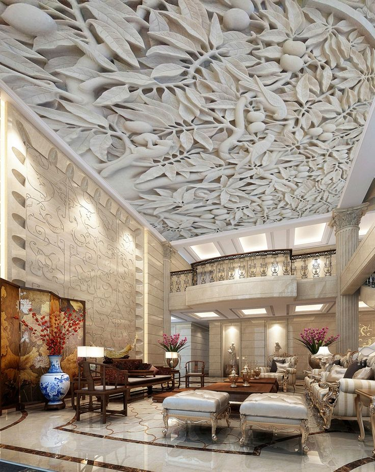 3D White Stone Carving C200 Ceiling Wallpaper Removable