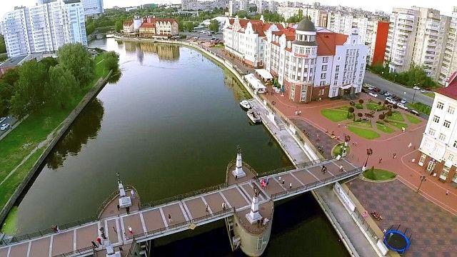 Калининград. Вид на Рыбную деревню с Юбилейным мостом. Аэрофотосъёмка с квадрокоптера 2014 года.