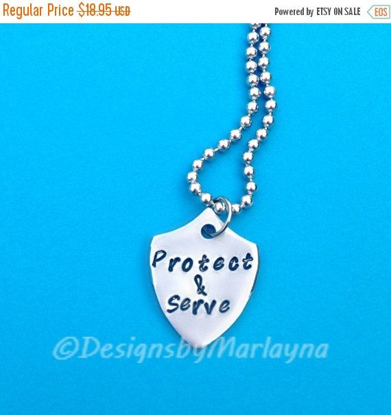 Protect and Serve, Deployment Necklace, Army Wife, Police, My Hero, Soldier, Military Girlfriend, Hand Stamped Jewelry, Air Force, Army Mom
