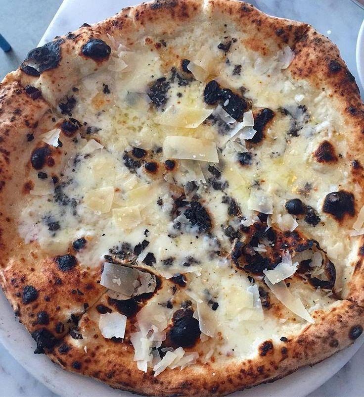 tartufo pizza    cream, black truffle, porcini mushroom, fresh mozzarella, white truffle oil   #themiamimenu #miami #truffle #stanzione87 #brickell