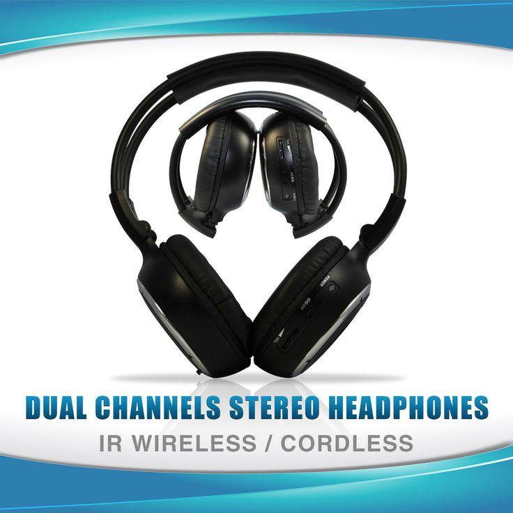 WIRELESS IR CORDLESS Dual Channel Headphone 2 PAIRS