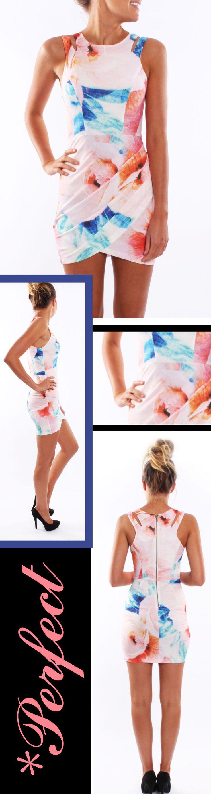Pink Sleeveless Floral Print Bodycon Dress