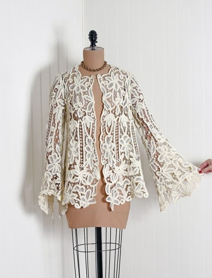 1910's Vintage Battenberg Lace Bell-Sleeve Jacket (Love the sleeves)