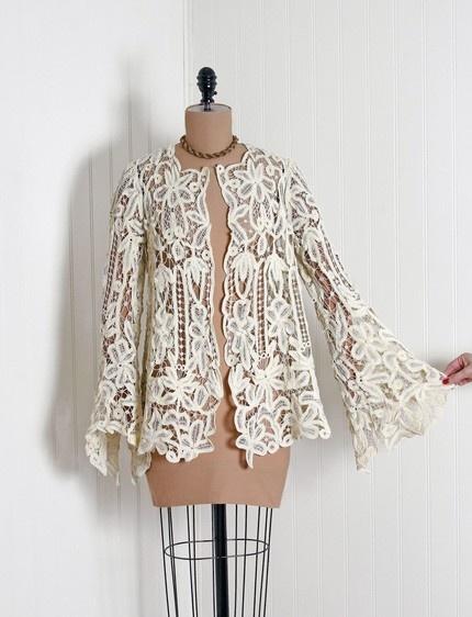 1910's Vintage Battenberg Lace Bell-Sleeve Jacket (Love the sleeves)