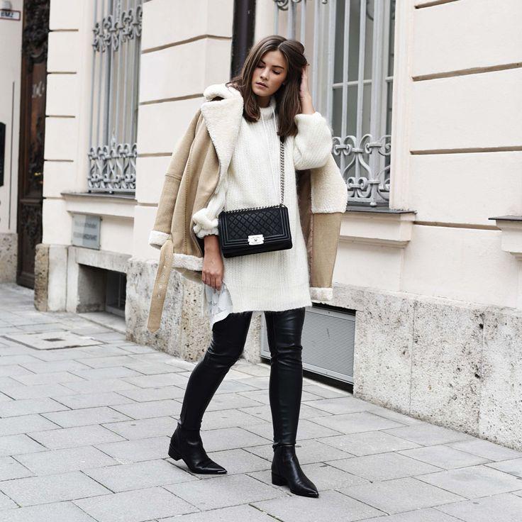Blogger Style l Fashiioncarpet: shearling aviator jacket x knit dress x leather pants x acne jensen boots x chanel boy bag