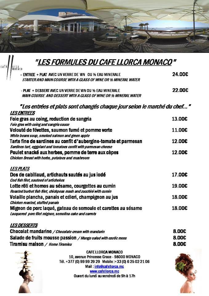 Les formules du Café Llorca à Monaco !