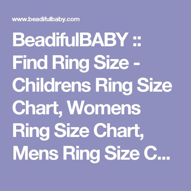 BeadifulBABY :: Find Ring Size - Childrens Ring Size Chart, Womens Ring Size Chart, Mens Ring Size Chart